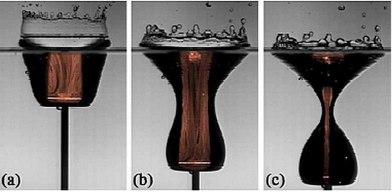 Une série de photos montrant les détails de l'effondrement de la cavité à l'origine de jets dans un liquide lors du passage d'un disque tiré vers le fond d'un récipient. Crédit : Stephan Gekle