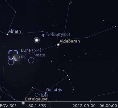 La Lune en rapprochement avec Vesta, Cérès et la nébuleuse du Crabe