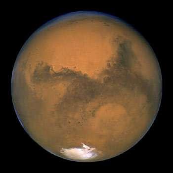 L'opposition de Mars en 2003.Photographie du télescope spatial Hubble obtenue le 27 août.