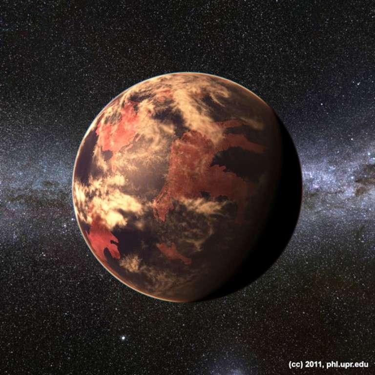 Vue réaliste d'une exoterre autour d'une naine rouge simulée à l'ordinateur. © Planetary Habitability Laboratory, UPR Arecibo, 2011