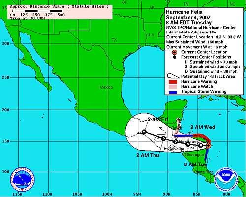 Les nouvelles prévisions pour la trajectoire de Félix (Crédit NHC-NOAA).