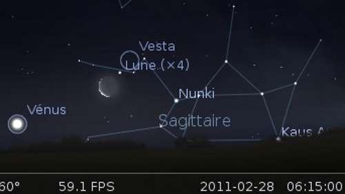 La Lune en rapprochement avec l'étoile Nunki et la planète naine Vesta