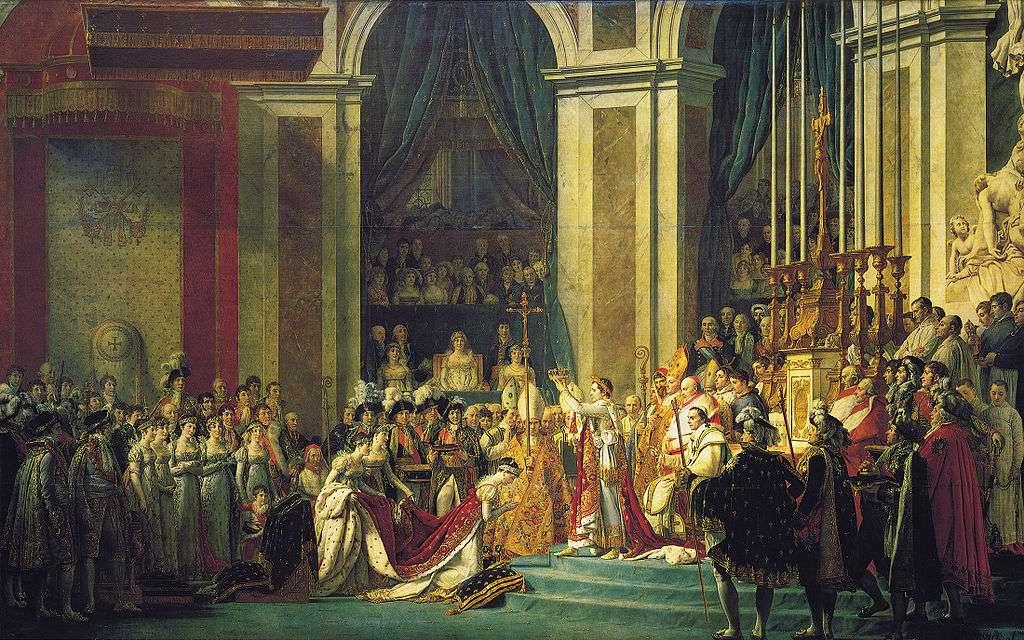 Le sacre de Napoléon, par Jacques-Louis David, immortalise l'une des cérémonies du couronnement en 1804. Napoléon sera couronné roi d'Italie l'année suivante. © Wikimedia Commons, DP