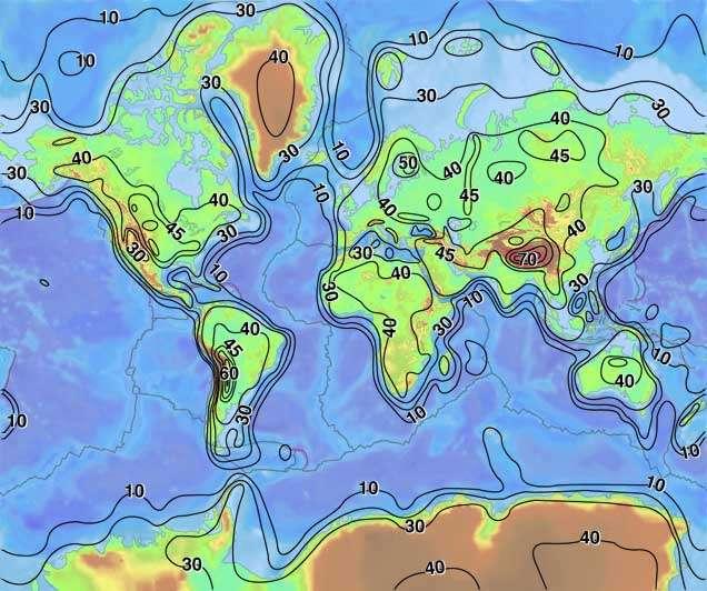 Cette carte présente la profondeur moyenne de la croûte terrestre en fonction de sa position sur la planète. © USGS, Wikimedia Commons, DP