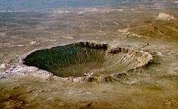 Un exemple d'impact de météorite : Meteore cratere (Arizona) vieux de 50 000 ansCrédit : http://www.univ-lille1.fr