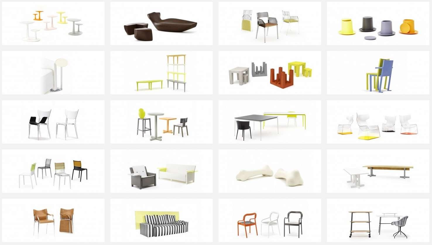 Les différentes familles de mobilier TOG. Bientôt, les utilisateurs pourront fabriquer eux-mêmes leur mobilier puis l'imprimer en 3D. © TOG