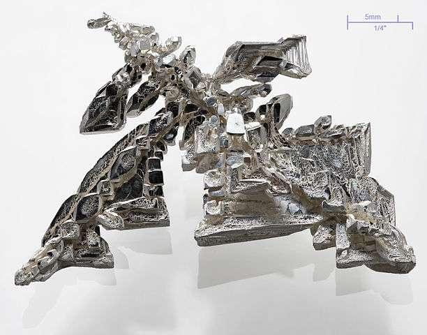 L'argent est un métal blanc brillant. Ici, un cristal d'argent pur à 99,95 % aux structures dentritiques. © Alchemist-hp, Wikimedia Commons, CC by-sa 3.0