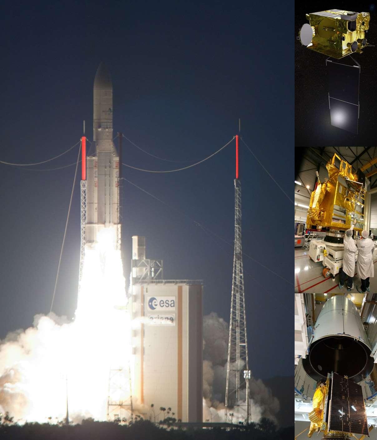 Ariane 5 a décollé dans la nuit de samedi à dimanche à 23h41 (heure de Paris) du Centre spatial de Kourou. Crédits Esa-Cnes-Arianespace / Optique vidéo du CSG
