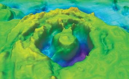 Ce supposé cratère reposerait au sud de l'île du Corossol, dans le golfe du Saint-Laurent. Cette cartographie du site a été obtenue grâce à la réalisation de plusieurs sondages à haute résolution. Un rebond central est très nettement visible au milieu de la structure circulaire. © Patrick Lajeunesse et al., Meteoritics and Planetary Science, 2013