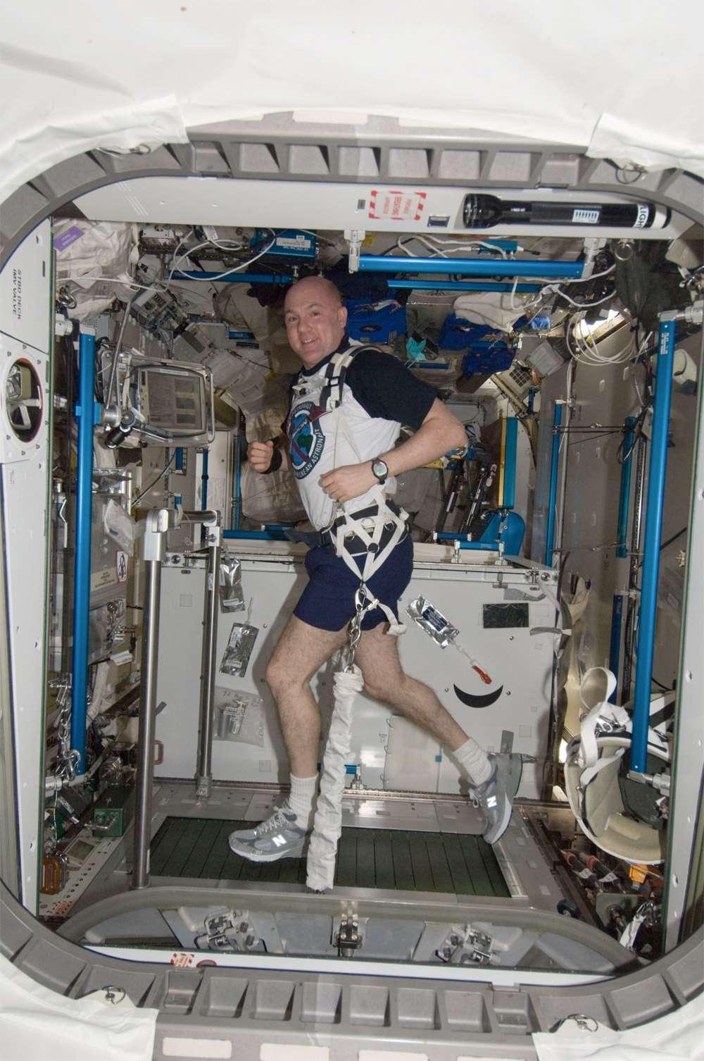 Comme chaque astronaute séjournant à bord de l'ISS, André Kuipers s'est astreint à des exercices quasi quotidiens pour combattre les effets de l'apesanteur sur le squelette et sur la masse musculaire. © Nasa