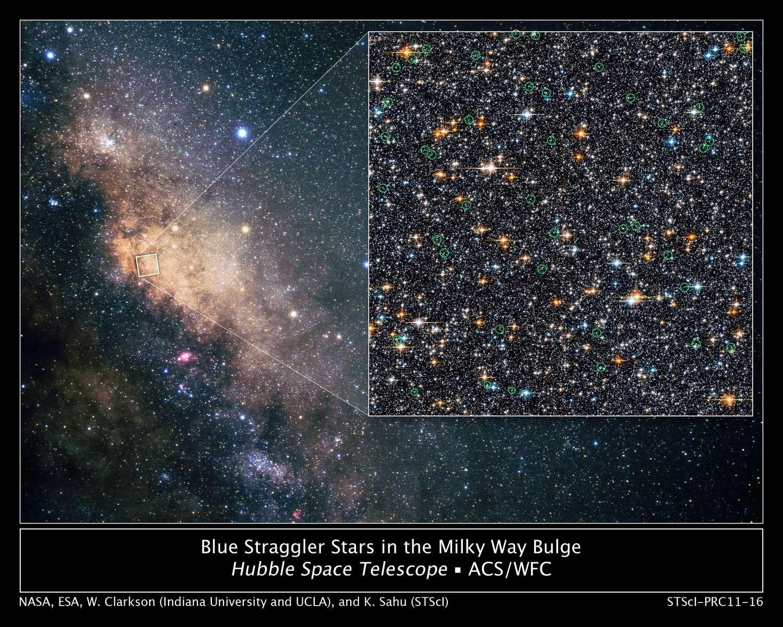 Une quarantaine d'étoiles anormalement jeunes siègent au milieu de leurs homologues âgées au centre de la Voie lactée. © Nasa/Esa/W. Clarkson (Indiana University and UCLA)/K. Sahu (STScI)