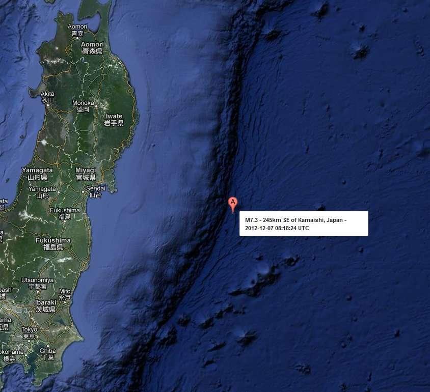 Le séisme s'est produit au niveau de la faille séparant la plaque pacifique (à droite) et la plaque eurasienne (à gauche). C'est dans cette même région que s'était produite la secousse de magnitude 9 le 11 mars 2011 qui avait généré un énorme tsunami dévastant la côte nord-est de l'île de Honshu, ainsi que la centrale nucléaire de Fukushima. © USGS, Google Earth