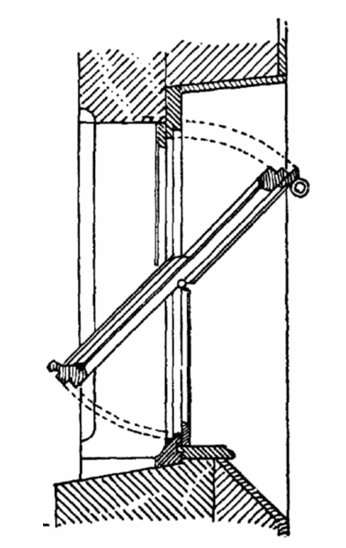 La fenêtre basculante pivote selon un axe horizontal et découpe le cadran en deux ouvertures. © Otto Lueger, Domaine Public, Wikimedia Commons