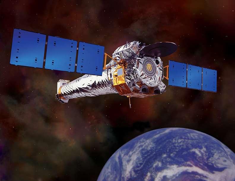 Une vue d'artiste de Chandra en orbite. Crédit : Nasa