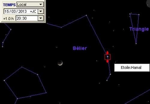 La Lune en rapprochement avec Hamal