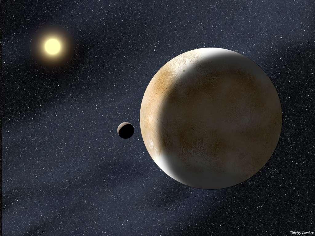 À 16 milliards de kilomètres, le plutoïde Éris est un monde gelé accompagné d'un petit satellite, Dysmonia. © T. Lombry
