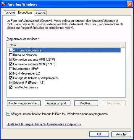 Découverte d'une faille de Windows XP accessible à travers le pare-feu