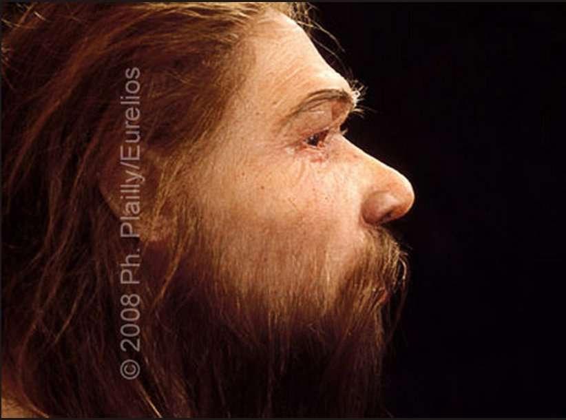 Voilà environ 250.000 ans, l'Homme de Néandertal a peuplé l'Europe et la partie ouest de l'Asie. Peu après sa rencontre avec Homo sapiens, il a disparu voilà quelque 30.000 ans, sans que la raison en soit élucidée. Disparition naturelle à cause de changements dans l'environnement ? Extermination par l'Homme moderne ? Métissage avec lui ? On ne sait pas répondre avec certitude... Comme l'image de l'enfant plus haut, cette dermoplastie est une œuvre d'Élizabeth Daynès. © Ph. Plailly, Eurelios