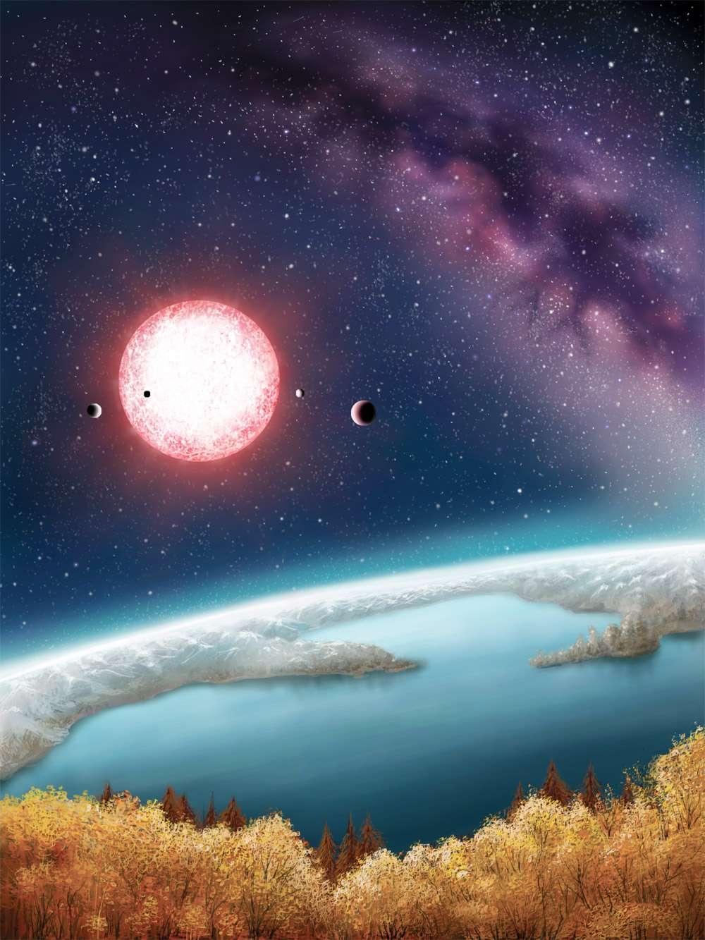 Depuis 2009, le télescope spatial Kepler, de la Nasa, installé sur une orbite autour du Soleil, observe la même région du ciel, couvrant les constellations du Cygne et de la Lyre. L'étoile Kepler-186 est située à 500 années-lumière, ce qui interdit d'imager ses planètes. C'est la méthode des transits, qui repose sur la légère occultation de l'étoile quand une planète passe devant, qui a permis de la détecter. © Danielle Futselaar