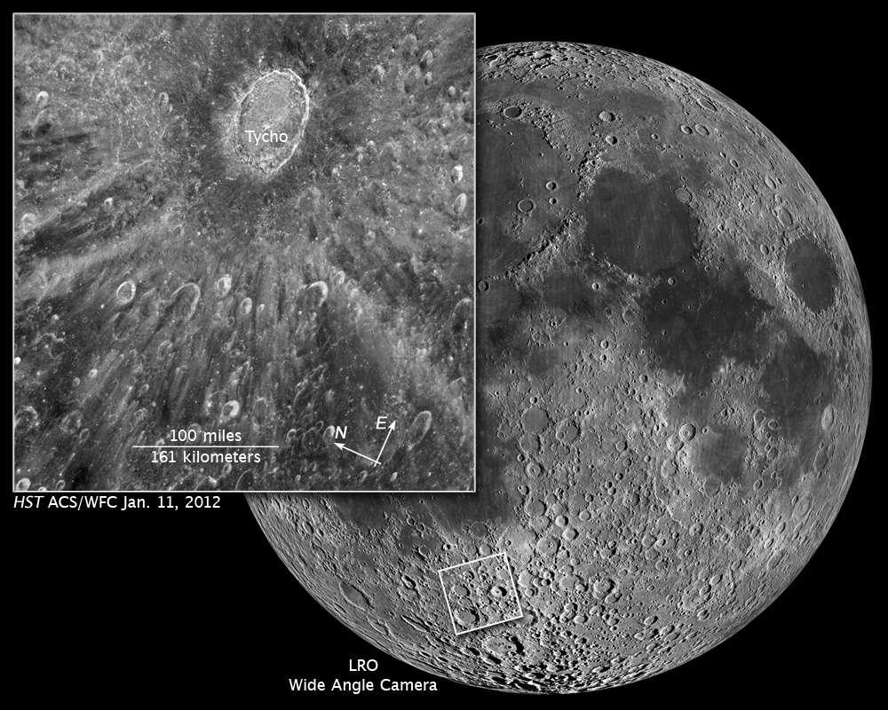 Pour tester ses capacités à rester longtemps pointé sur la même région lunaire, Hubble a visé le célèbre cratère Tycho. © Nasa/Esa/Z. Levay(STScl)