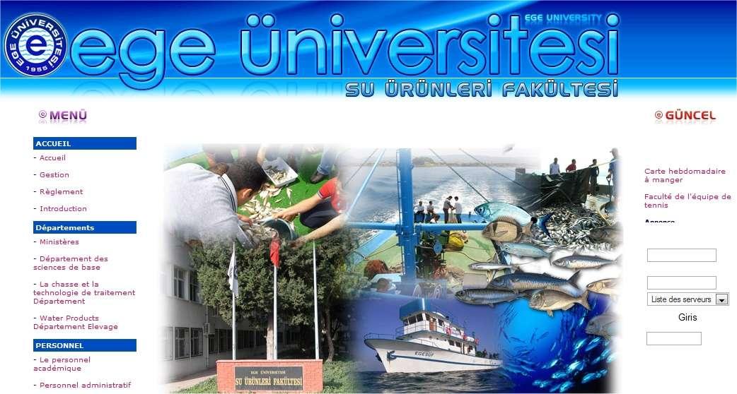 Bienvenue à l'université de la mer Egée (Ege Üniversitesi) sur le site de la Faculté des ressources aquatiques (Su Ürünleri Fakültesi). Google Translate, intégré à la barre d'outils, a traduit les textes de la page (mais pas les titres, qui sont en fait des images). (Capture d'écran.)