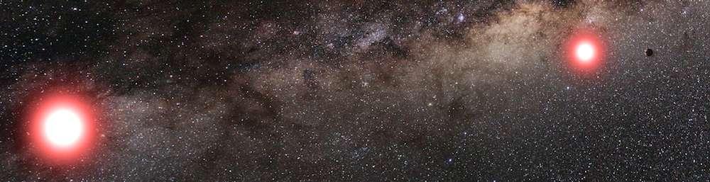 Sur cette illustration, on découvre les deux naines rouges qui composent ce système binaire situé à quelque 3.000 années-lumière de nous en direction du Sagittaire. Autour de l'étoile représentée à droite (environ 0,1 masse solaire), une équipe internationale d'astronomes a débusqué une exoplanète deux fois plus massive que la Terre. Nommée OGLE-2013-BLG-0341LBb, elle gravite à une distance équivalente à celle qui sépare la Terre du Soleil. © Cheongho Han, Université nationale de Chungbuk (République de Corée)