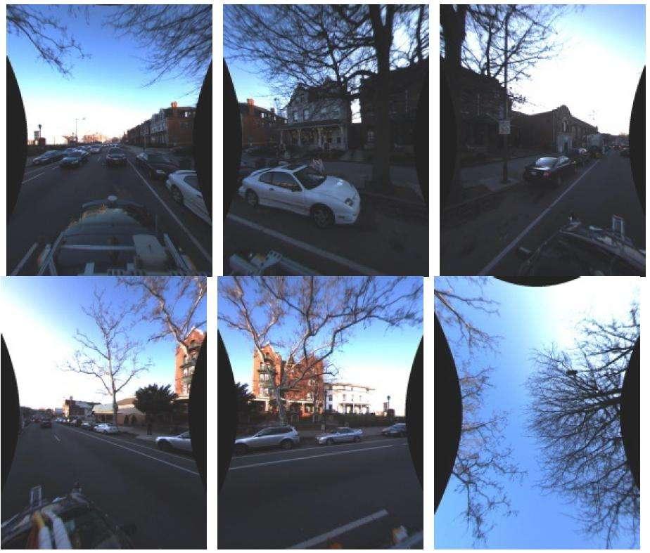 La caméra omnidirectionnelle filme en permanence l'intégralité du champ visuel autour de la voiture et suit le déplacement. © J.-P. Tardif, Y. Pavlidis et K. Daniilidis