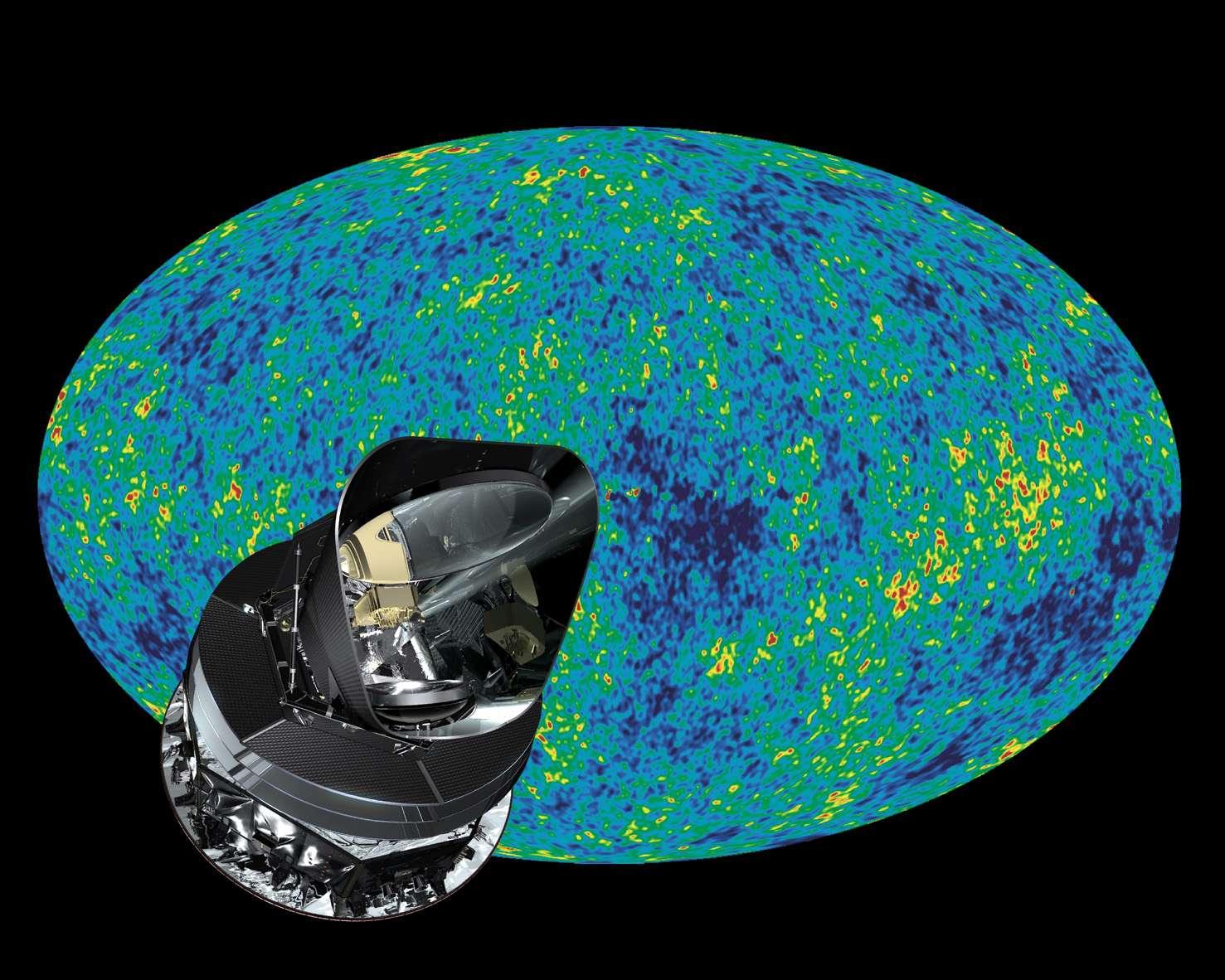 Simulation de la carte du rayonnement fossile observé par Planck, avec superposition du satellite. La vraie carte sera mise en ligne ce jeudi 21 mars. © Esa