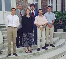 De gauche à droite : Benoît Alcoverro, Bernard Massinon, Elisabeth Blanc, Jacques Bouchez, Yves Cansi, Alexis Le Pinchon.Crédit : CEA-Cadam