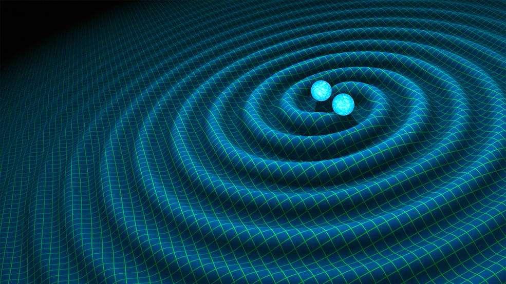 Les ondes gravitationnelles sont une des clés de l'astrophysique. Leur détection directe début février n'aurait pas été possible sans l'instrument Ligo. Ici, une illustration d'ondes gravitationnelles générées par un couple d'étoiles à neutrons. © R. Hurt, Caltech-JPL