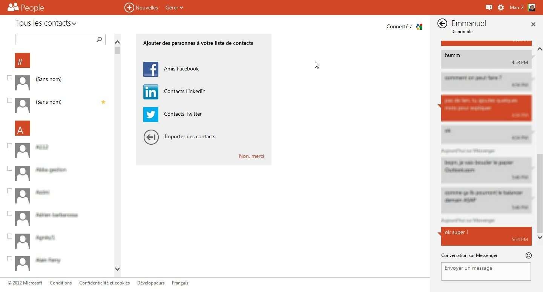 L'application Contacts d'Outlook.com est la même que celle sous Windows 8. Microsoft a soigné le processus de récupération des contacts auprès des services tiers et, en particulier, des webmails de ses concurrents. © Marc Zaffagni, EP