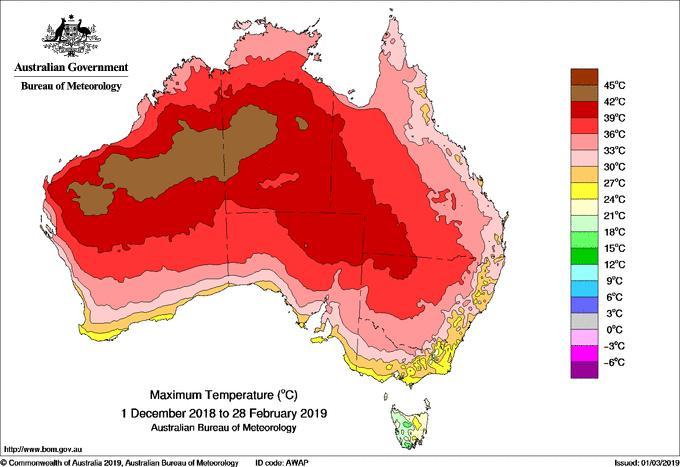 Moyenne des températures maximales en Australie entre décembre 2018 et février 2019. Le pays a subi son été le plus chaud jamais enregistré. © Commonwealth of Australia 2019, Australian Bureau of Meteorology