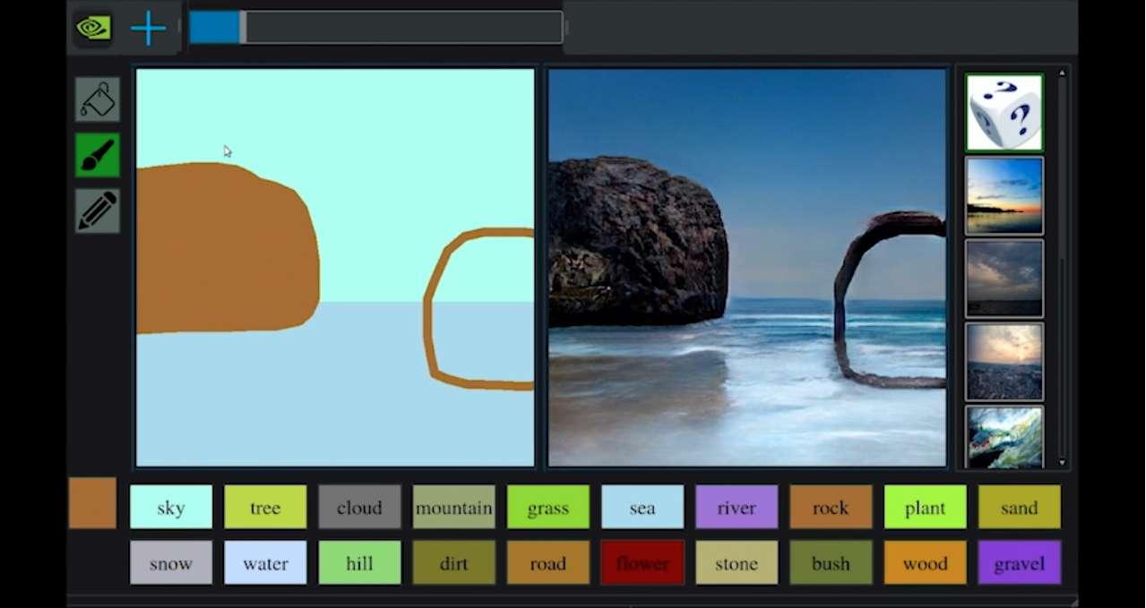 Le logiciel GauGAN de Nvidia transforme les dessins sommaires en paysages photoréalistes. © Courtesy of Nvidia