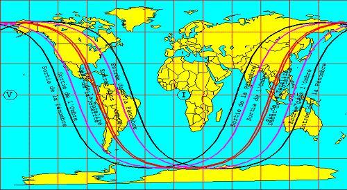 Zone de visibilité de l'éclipse totale du 26 mai.V = Visible. I = Invisible.