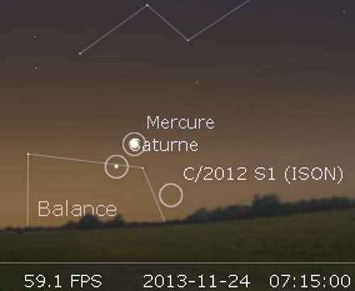 La comète Ison en rapprochement avec Saturne