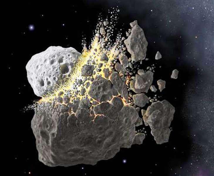 Une représentation d'artiste de la collision à l'origine de la famille d'astéroïdes des Baptistina. © Don Davis