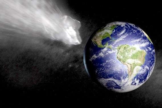 Si un astéroïde de un kilomètre devait s'écraser dans un océan, il repousserait assez d'eau pour former un cratère temporaire d'environ 19 kilomètres de diamètre sur 5 kilomètres de profondeur. Il projetterait dans l'atmosphère des quantités phénoménales et engendrerait des vagues de plus de 150 mètres de hauteur. © Droits réservés