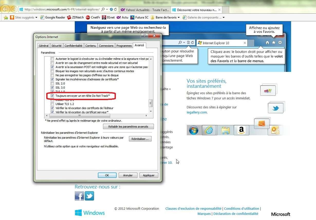 Avec Internet Explorer 10, Microsoft a choisi d'activer par défaut la fonction Do not track qui signale aux sites Web que l'internaute ne souhaite pas voir ses données être collectées à des fins publicitaires. Un choix guère apprécié des annonceurs et qui complique la recherche d'un compromis entre les divers acteurs concernés afin de standardiser le Do not track. © MZ, Eureka Presse