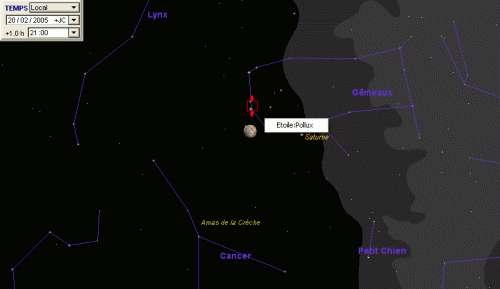 La Lune est en conjonction avec la planète Saturne et l'étoile Pollux
