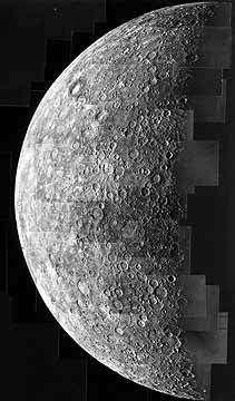 La planète Mercure vue par la sonde Mariner 10.crédit : NASA