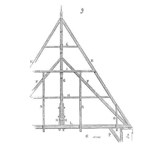 Le poinçon peut être une pièce verticale faisant partie de la charpente. © Buzz, Domaine public, Wikimedia Commons