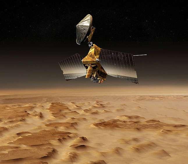 MRO (Mars Reconnaissance Orbiter) en orbite autour de Mars (vue d'artiste). © Nasa/JPL