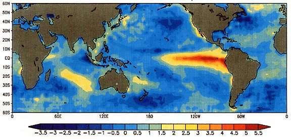El Niño avait provoqué des anomalies de températures en 1997. Les couleurs chaudes indiquent une anomalie positive (donc une augmentation de température). On observe bien une augmentation de la température au niveau du Pacifique ouest et le long des côtes américaines. © NOAA, domaine public