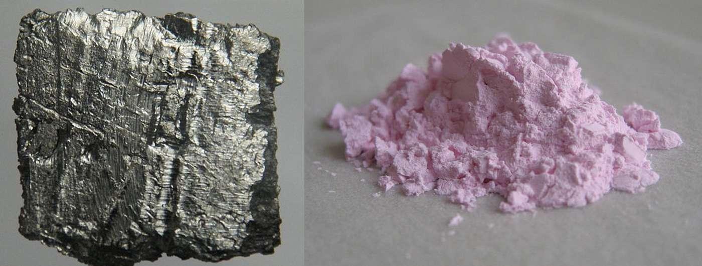 L'erbium est un lanthanide gris ; l'oxyde d'erbium(III) (à droite) se présente sous la forme d'une poudre rose. © Jurii, Wikimedia Commons, CC by 3.0 et Gfobt, Wikimedia Commons, DP