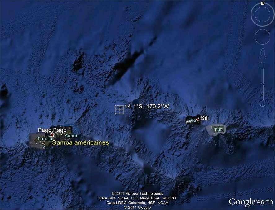 La zone de la chute d'UARS : dans les Samoa américaines, entre les îles Tutuila et Sili (image Google Earth).