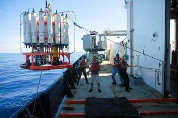 Mesure de l'oxygène dissous durant la campagne Clivar (Climate Variability and Predictability). © Scripps Institution of Oceanography
