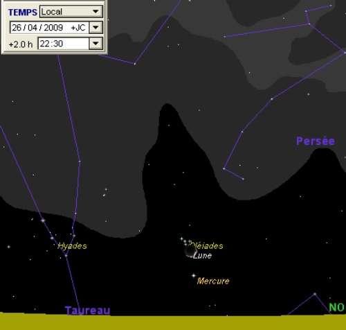 La Lune est en rapprochement avec la planète Mercure et les Pléiades