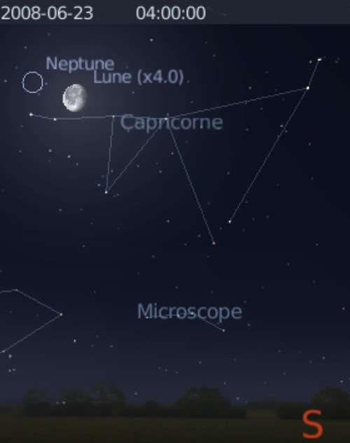 La Lune est en rapprochement avec la planète Neptune