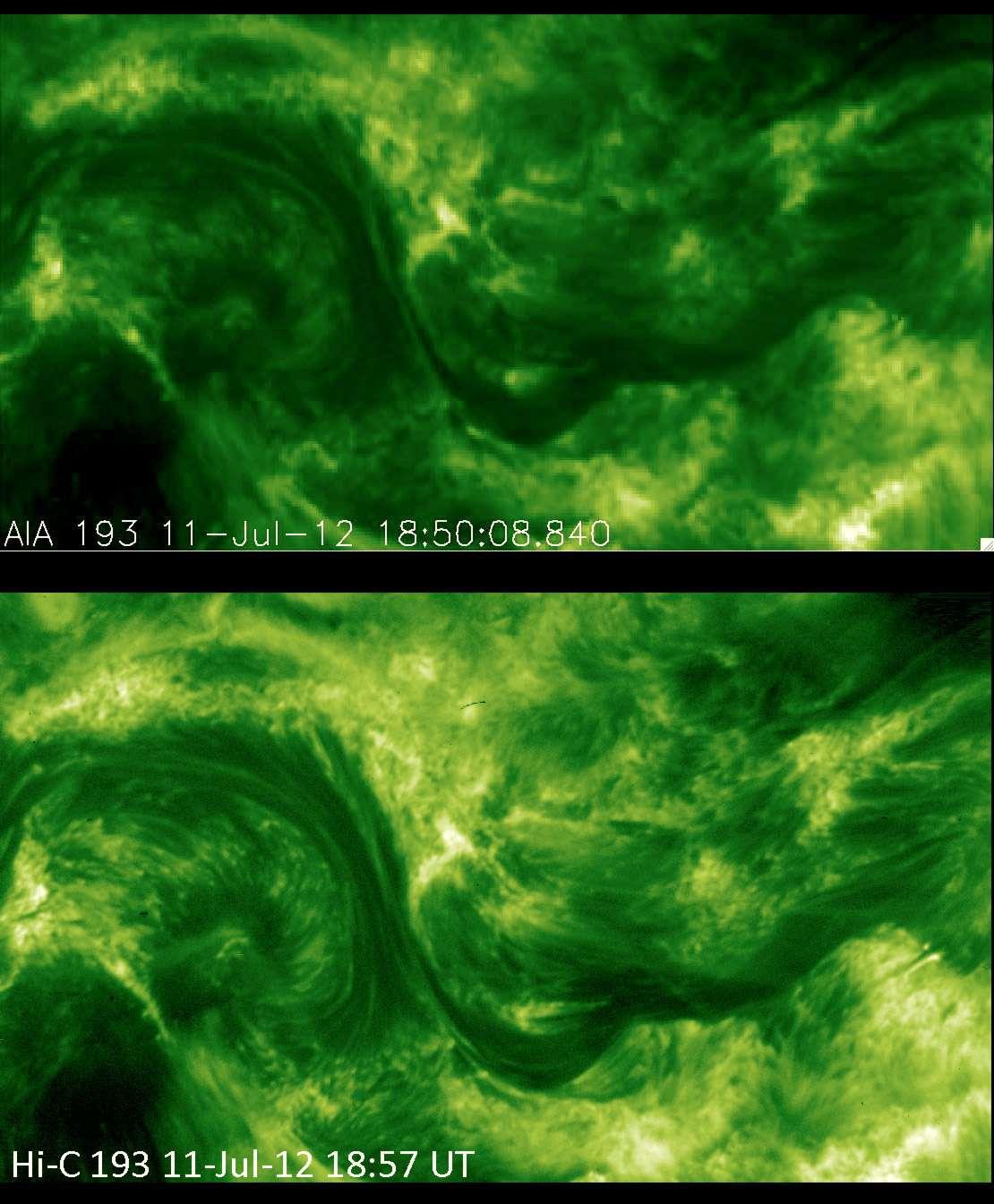 Comme le montre l'image de la couronne solaire acquise par le petit télescope spatial HI-C (image du bas), la résolution est bien meilleure que ce que permet l'Observatoire spatial du Soleil, SDO. Des détails de la même région, simplement suggérés sur l'image de SDO (image du haut), sont clairement visibles avec HI-C. © Nasa
