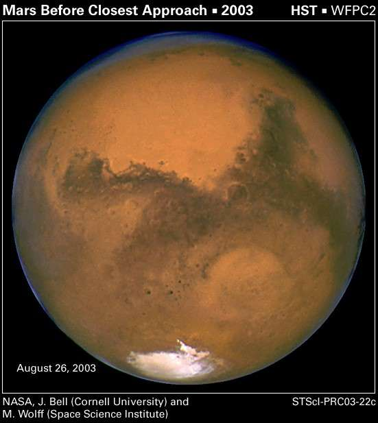 Pour voir la planète Mars aussi grosse, vous aurez besoin du télescope spatial Hubble ! © Nasa